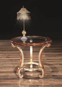 POISSY tavolo 8681T, Tavolo portalampada, con piano tondo in vetro, per salotto