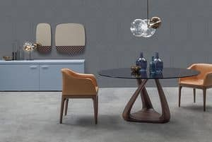 RIZOMA, Tavolo design con piano in vetro, struttura in noce
