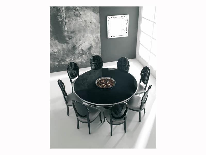 SENSUAL, Tavolo laccato nero lucido, finiture in foglia d'argento