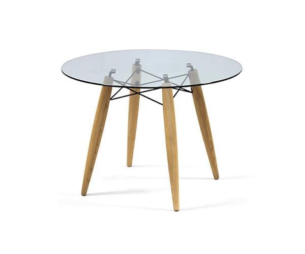 Tavolo tondo in legno piano in vetro per sala da pranzo for Tavolo tondo legno