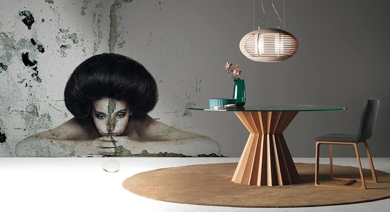 Tavolo da pranzo rotondo, piano in cristallo, base in noce | IDFdesign
