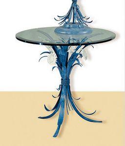 T.3600/3, Tavolo blu tondo con piano in vetro