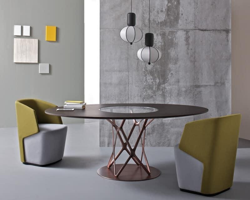 Tavolo design piano in vetro per sala da pranzo idfdesign for Tavoli di design in cristallo