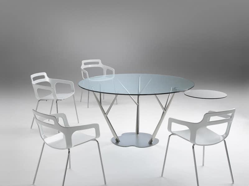 Tavolo da pranzo con piano in vetro con servetto su gamba for Tavolo pranzo trasparente