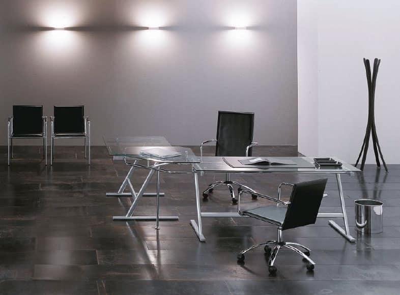 Tavolo design per ufficio base in metallo piano in - Scrivania cristallo ufficio ...