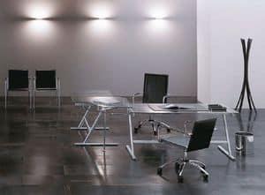 Drive, Tavolo design per ufficio, base in metallo, piano in cristallo