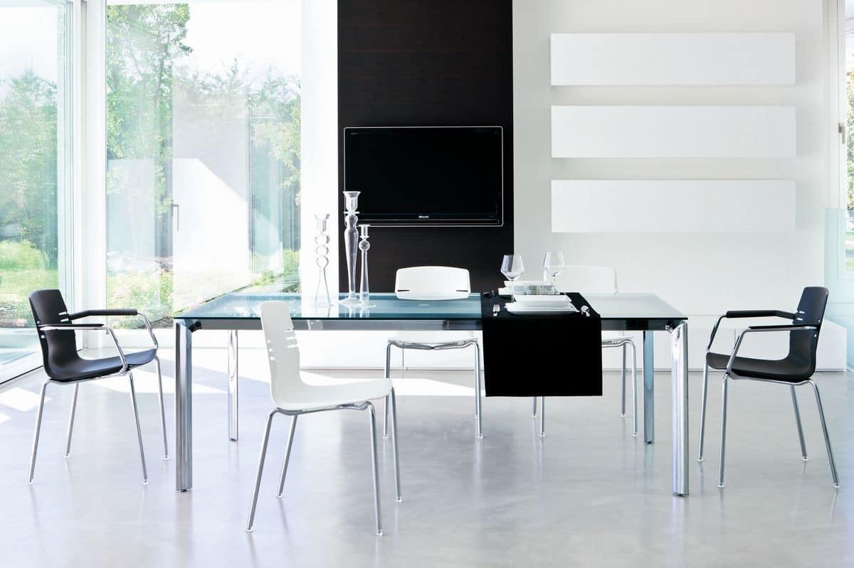 290, Tavolo in metallo con piano in vetro colorato, per ufficio