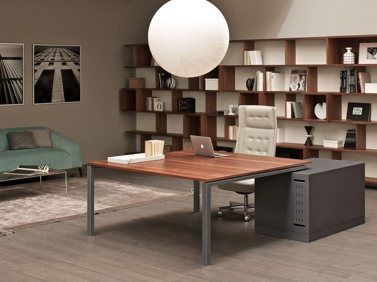 Scrivanie e cassettiere ufficio area lavoro idfdesign for Design ufficio scrivania
