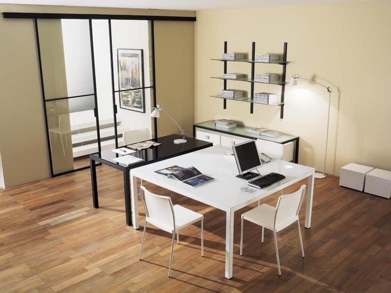 dl50 londra, Tavolo operativo in acciaio, piano in cristallo, per Studio