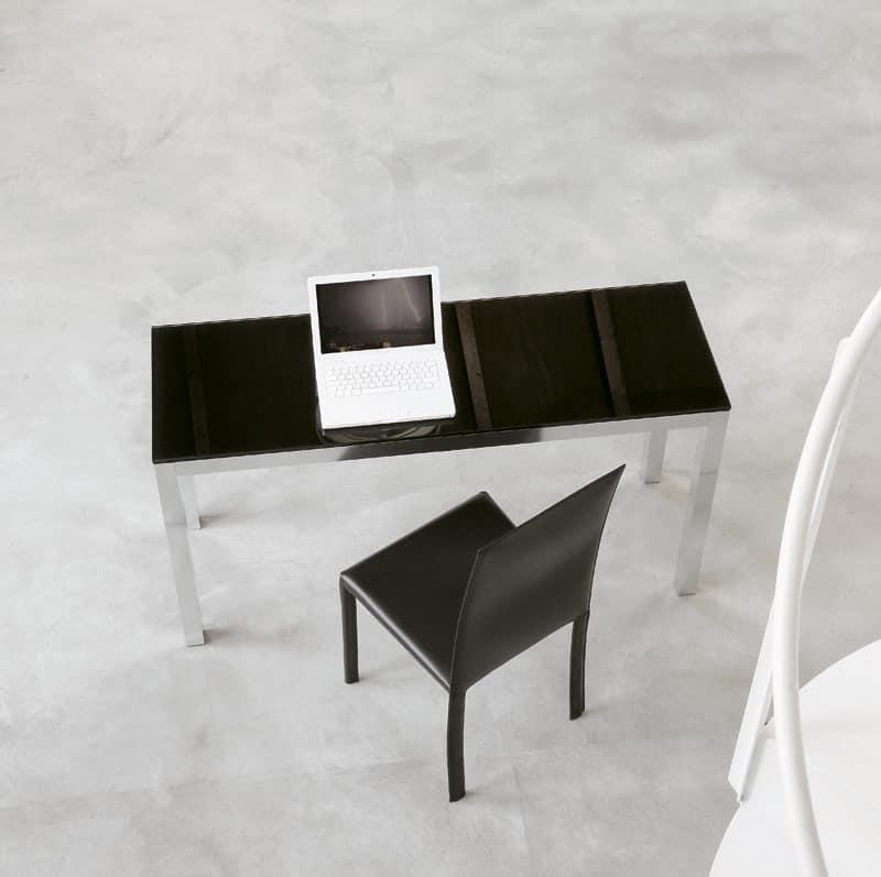 Tavolo design per ufficio in alluminio e cristallo for Tavoli contemporaneo design