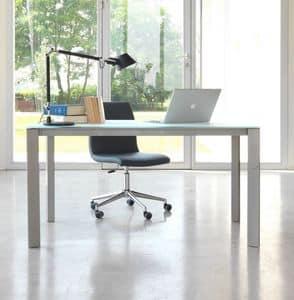 dl80 lugano, Tavolo scrivania in alluminio con piano in vetro