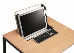 KUDOS 974, Tavolo porta PC a scomparsa, in metallo e laminato