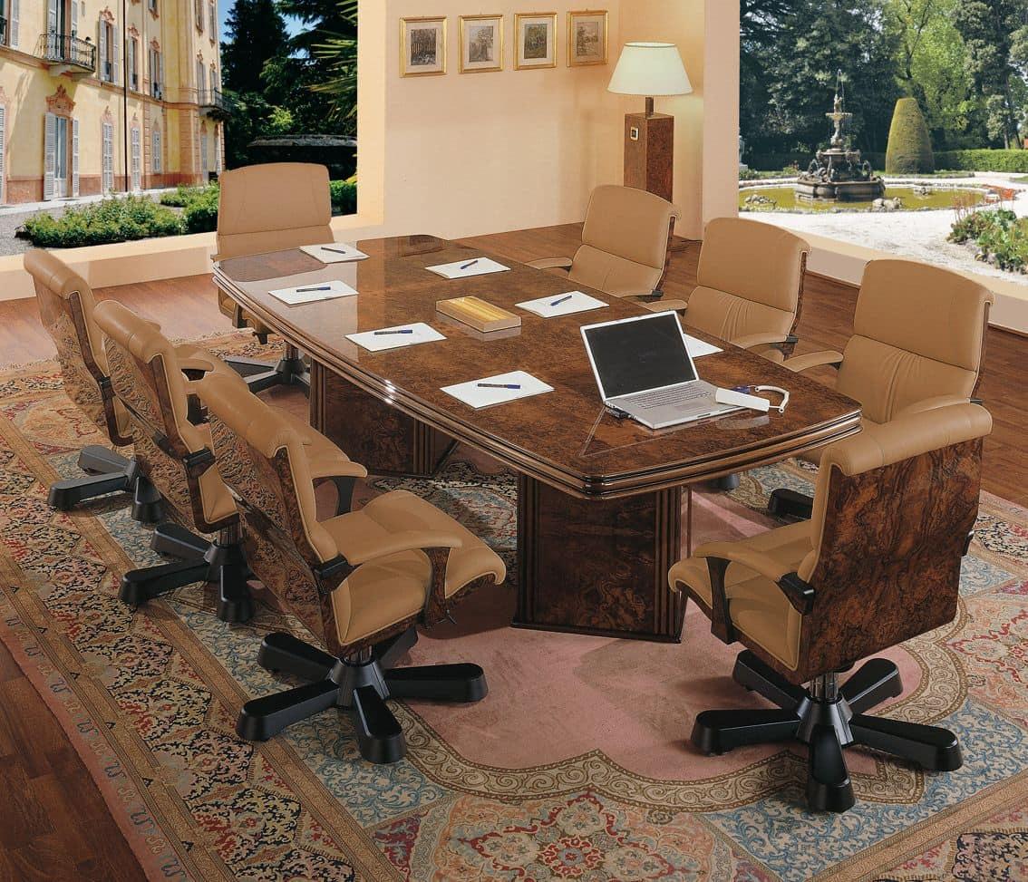 Tavolo per riunioni in radica in stile classico - Tavolo contemporaneo ...
