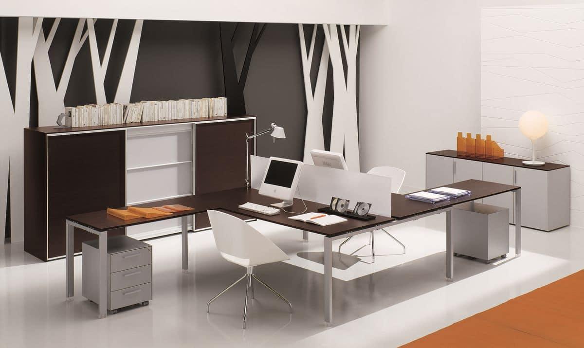 Doppia postazione per ufficio con divisorio idfdesign for Tavoli arredo 3