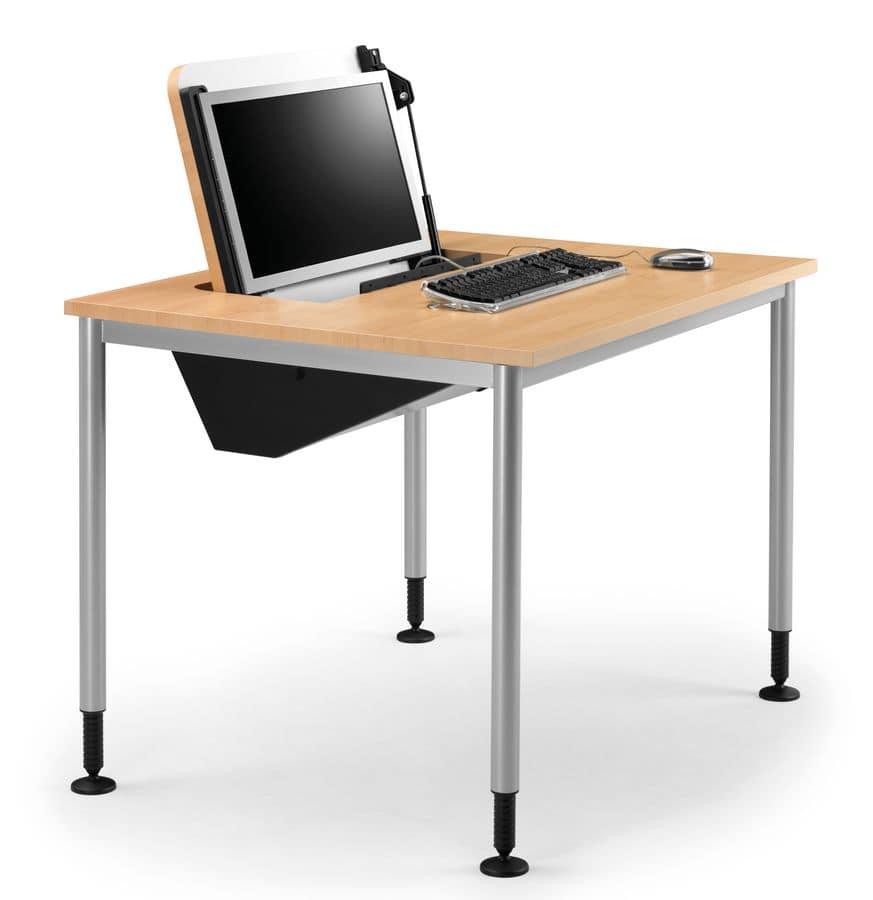tavolo con piedi regolabili porta pc a scomparsa idfdesign