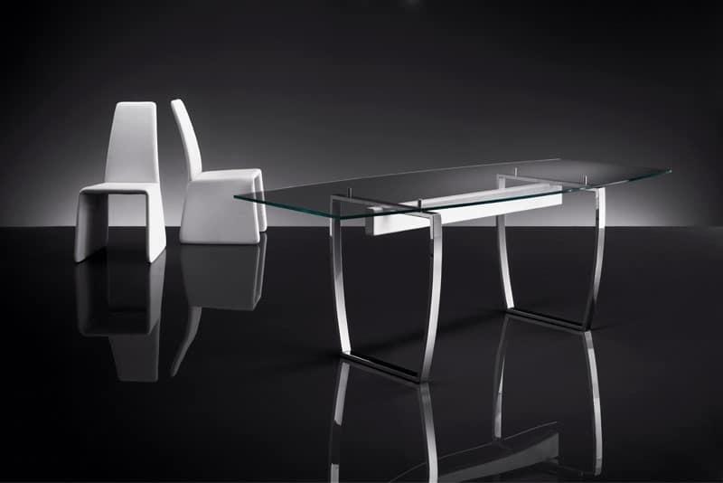 ART. 258/F DIAMOND TAVOLO, Tavoli base in metallo, con piano in cristallo trasparente