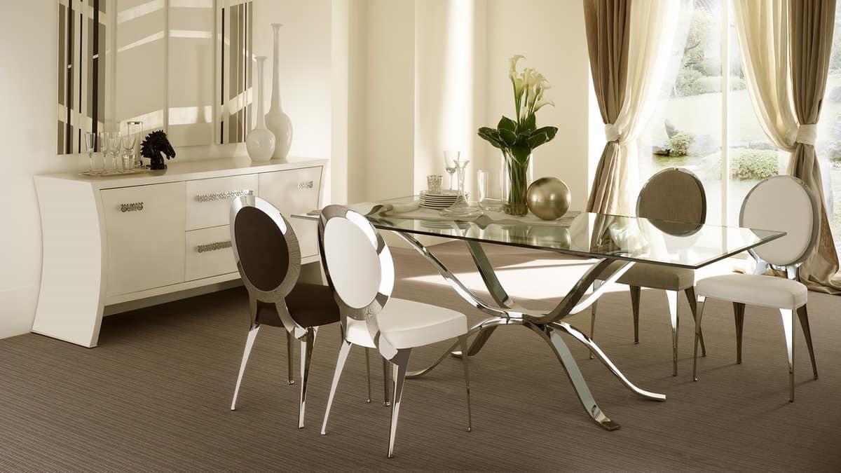 Atlante tavolo, Tavolo in ferro lucidato a mano, piano in vetro