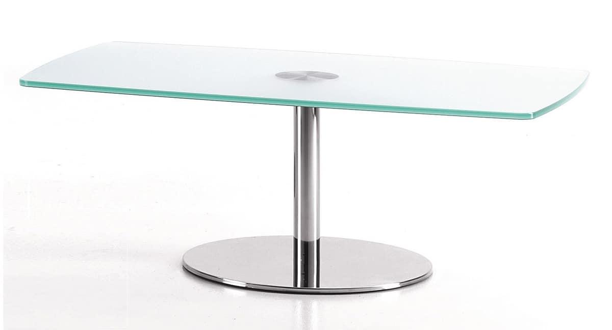 BASIC 854 C, Tavolo rettangolare con base in metallo e piano in vetro