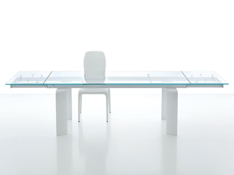 Tavolo da pranzo con piano in vetro allungabile idfdesign - Tavolo di vetro allungabile ...