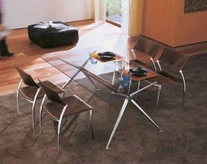 Brioso, Tavolo in alluminio con piano in cristallo, per Soggiorno