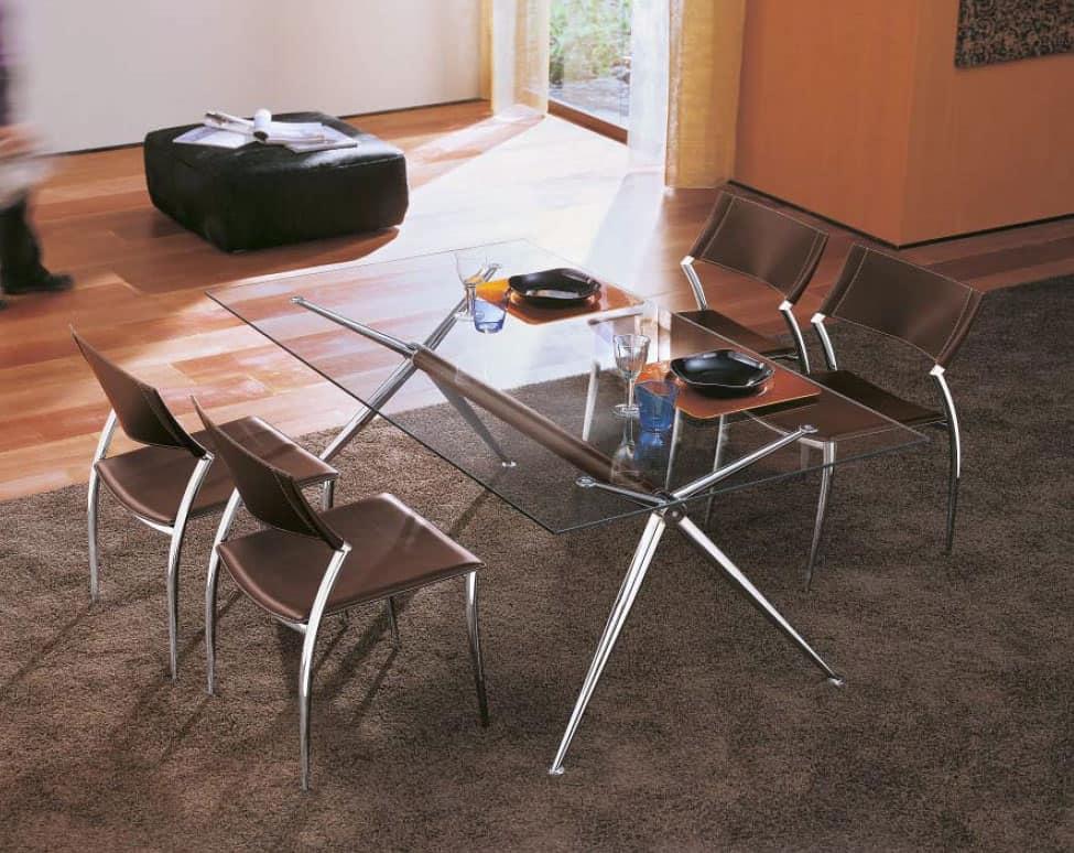 Tavolo in alluminio con piano in cristallo per soggiorno idfdesign - Tavolo di vetro per soggiorno ...