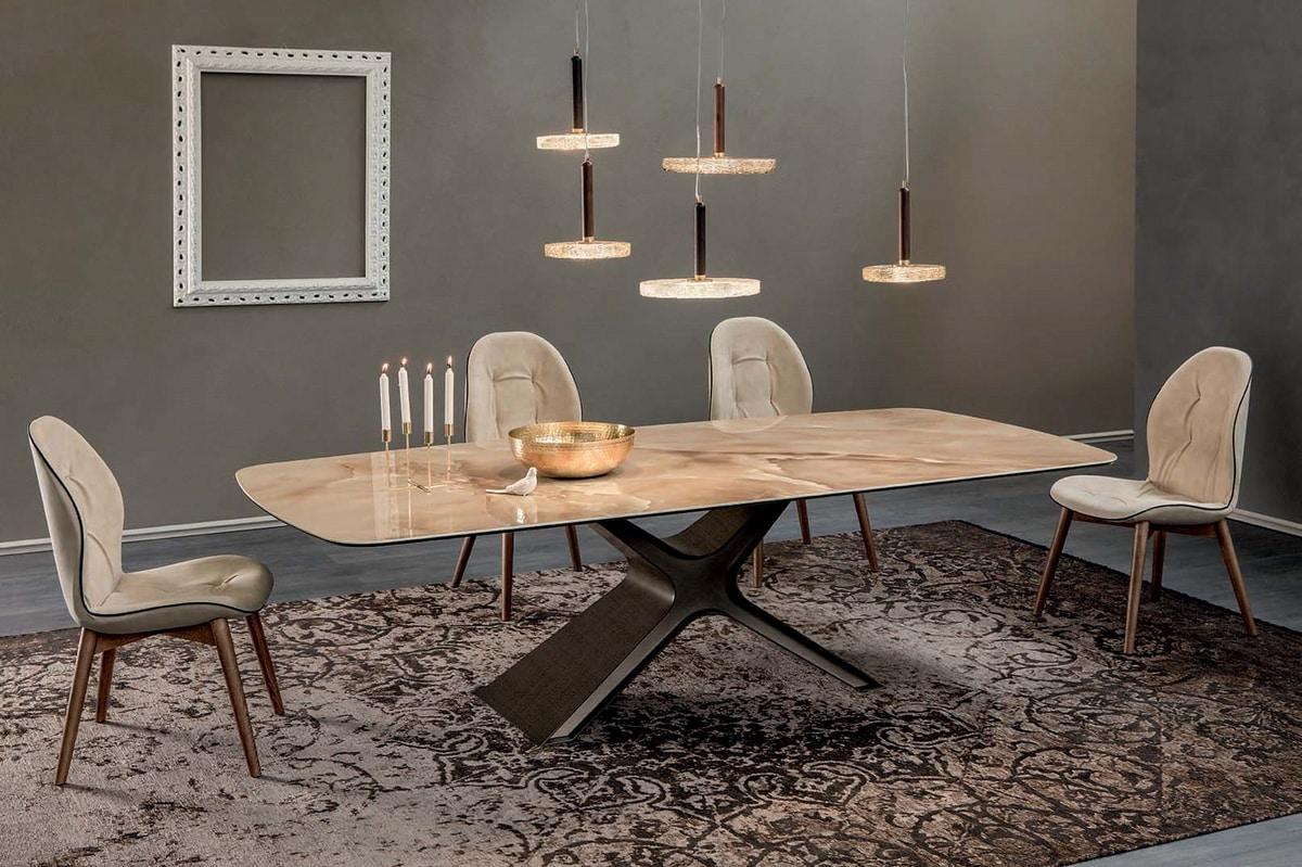 CALLIOPE XXL, Tavolo fisso con struttura in acciaio verniciato e piani in vetro o ceramica