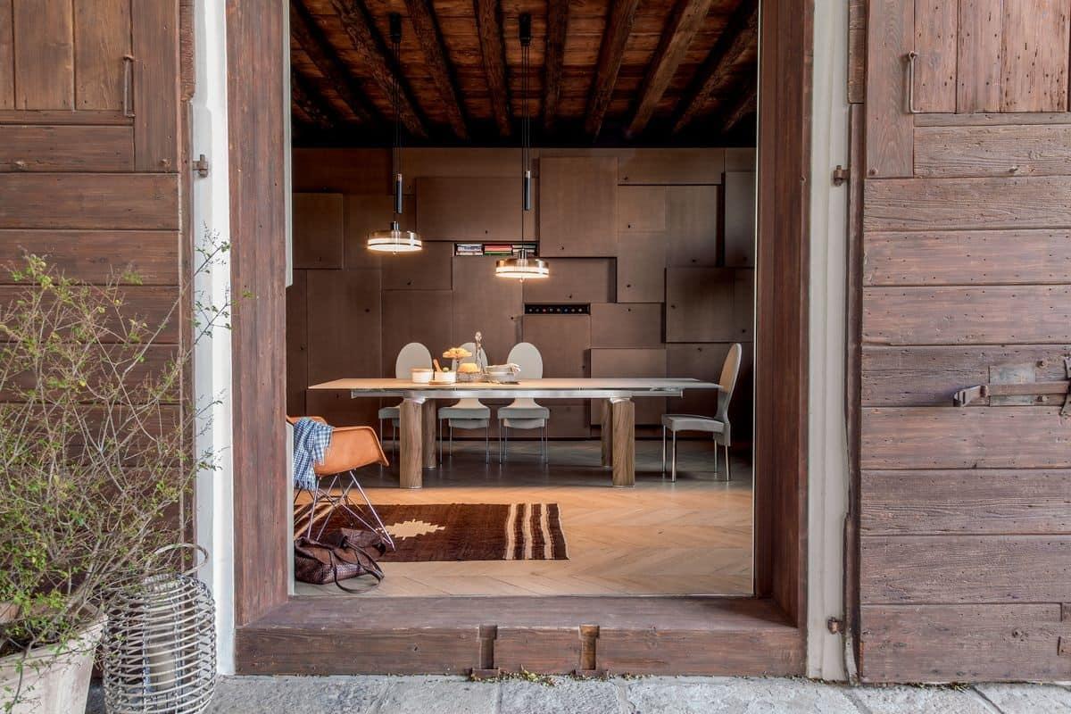 CANNAREGIO, Tavolo da pranzo elegante, allungabile, in vetro e alluminio