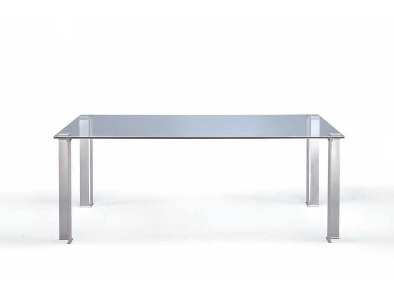 Tavolo da pranzo con piano in vetro trasparente idfdesign for Tavolo trasparente