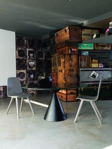 DAMA tavolo, Tavolo con base a doppio cono e piano in ceramica-vetro