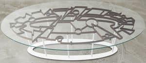 DEDALO, Tavolo con piano in cristallo temprato e struttura in acciaio