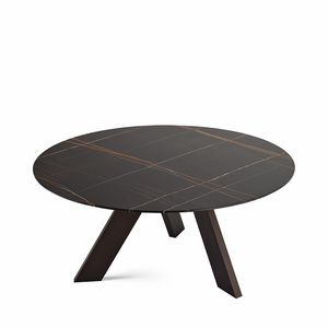 Fix, Tavolo ovale con piano in cristallo, con 3 gambe