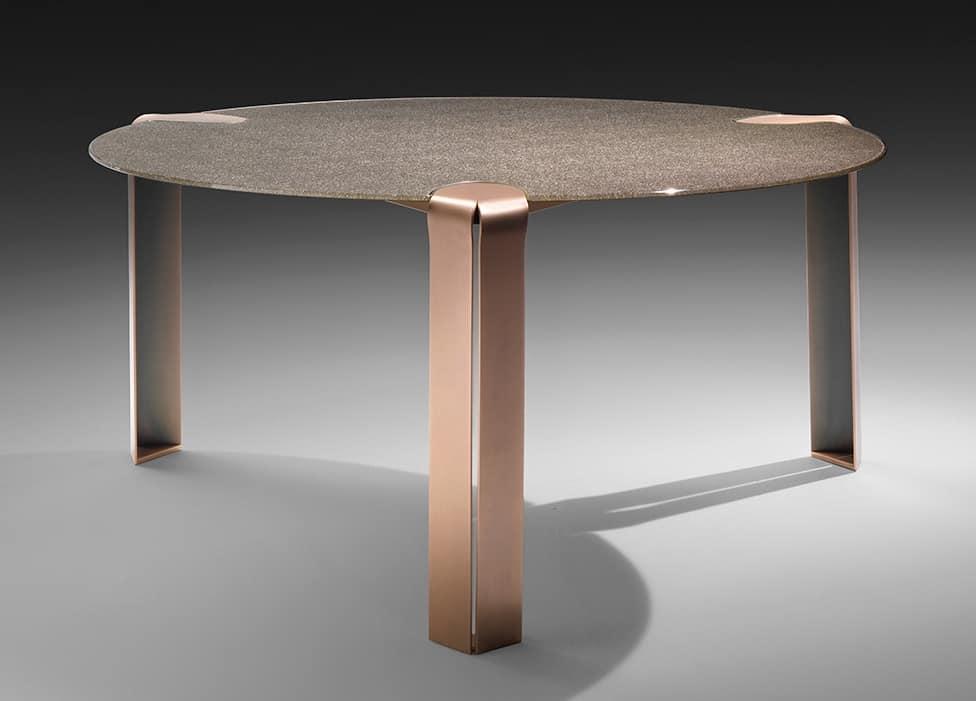 Tavolo rotondo in metallo e cristallo temperato | IDFdesign