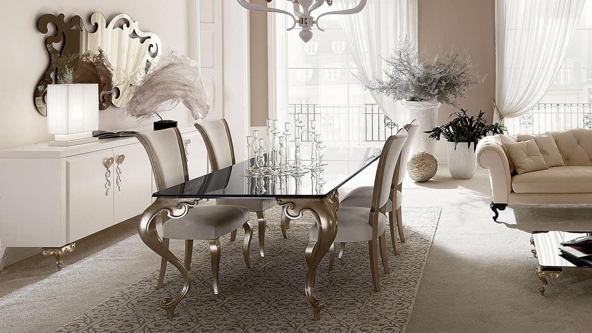 Tavolo con gambe in alluminio piano in granito idfdesign - Tavolo contemporaneo ...