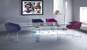 Mambo/R, Tavolo con prolunga, in metallo con piano in cristallo