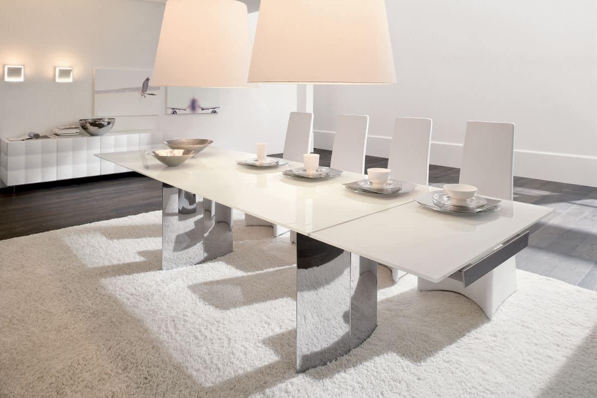 MANHATTAN, Tavolo da pranzo allungabile, in vetro e metallo cromato