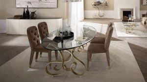 Mir� tavolo, Tavolo in ferro curvato, piano in vetro trasparente