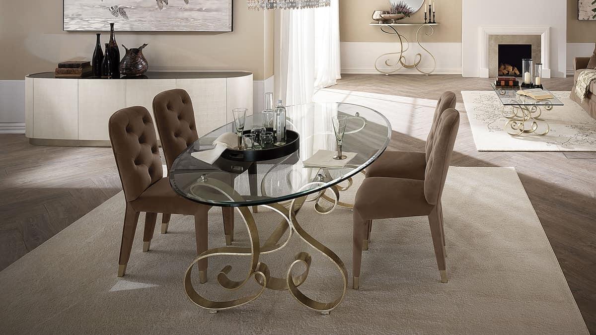 Tavolo in ferro curvato piano in vetro trasparente - Tavolo ferro battuto e vetro ...