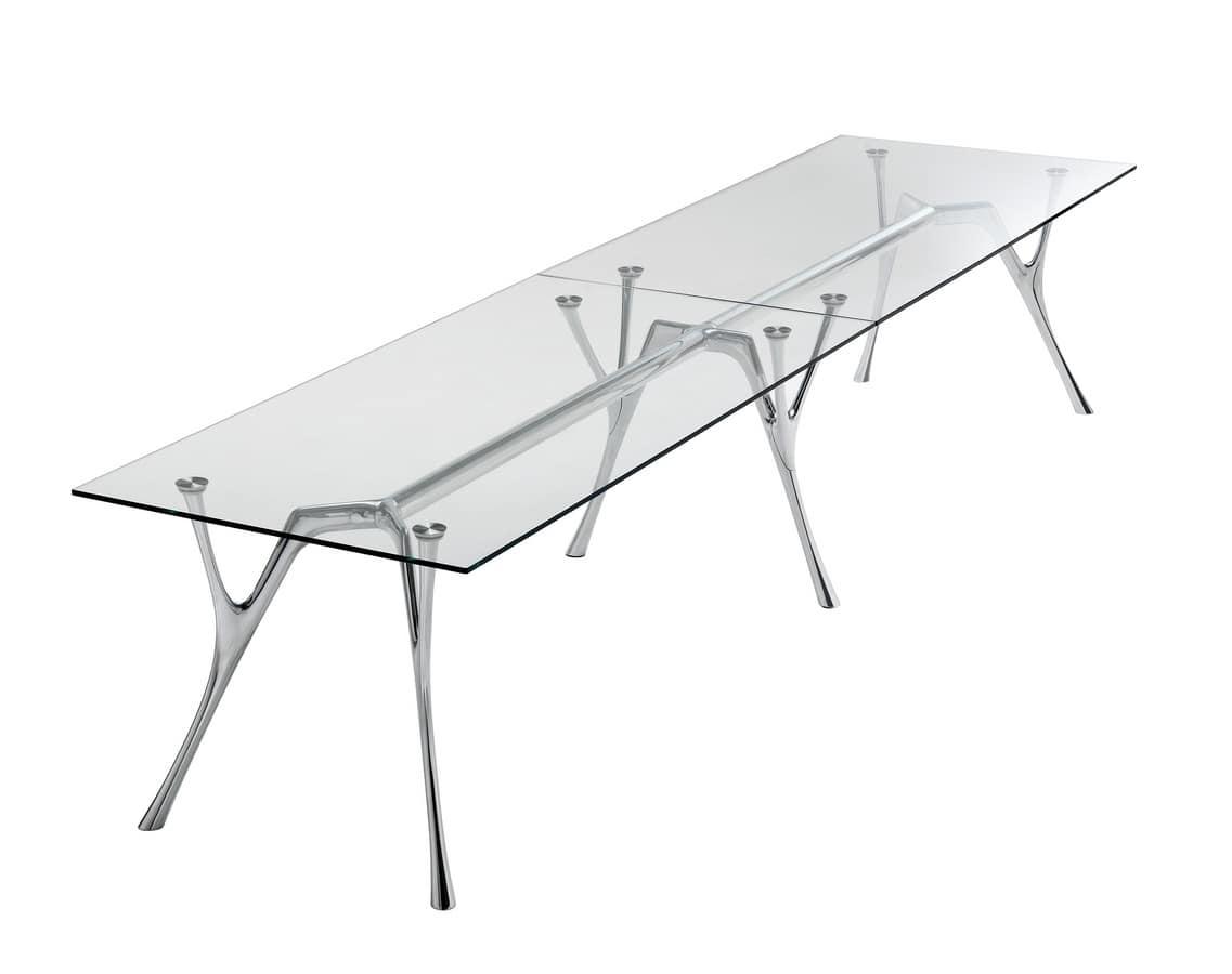 Tavolo Cristallo Alluminio.Tavolo Modulare In Alluminio Con Piano In Cristallo Idfdesign
