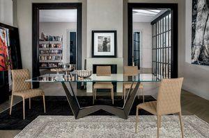 REVERSE, Tavolo fisso con struttura in acciaio verniciato e piani in vetro o ceramica