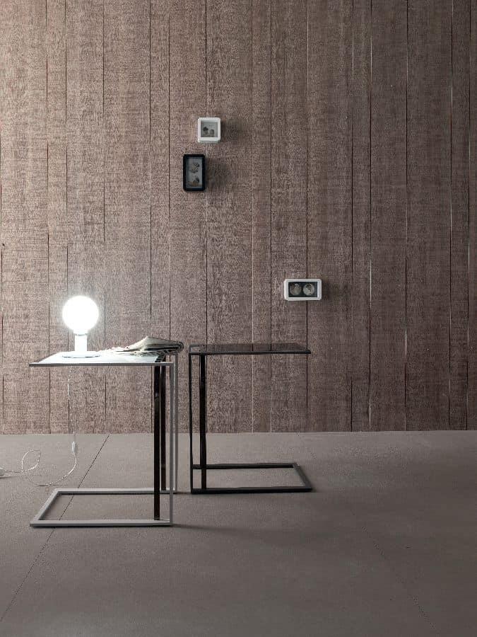 Tavolino, design, in metallo e vetro temperato, per salotto ...