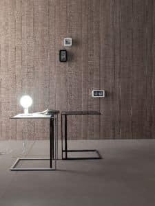 Square, Tavolino, design, in metallo e vetro temperato, per salotto