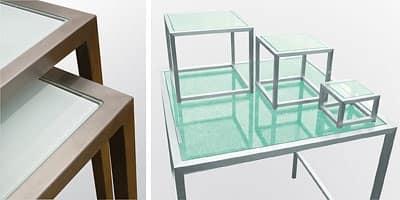 Steel & Style - Buffet, Tavolo in acciaio inox con piano in vetro, varie forme disponibili
