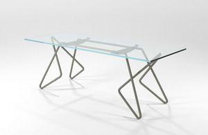 Vittoria, Tavolo rettangolare in tubolare cromato con piano in vetro