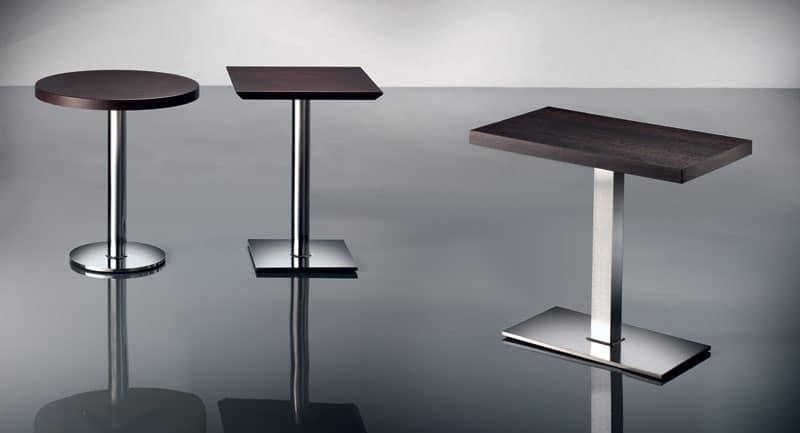 ART. 400/CR, Tavolino quadrato, base cromata, per bar e pub