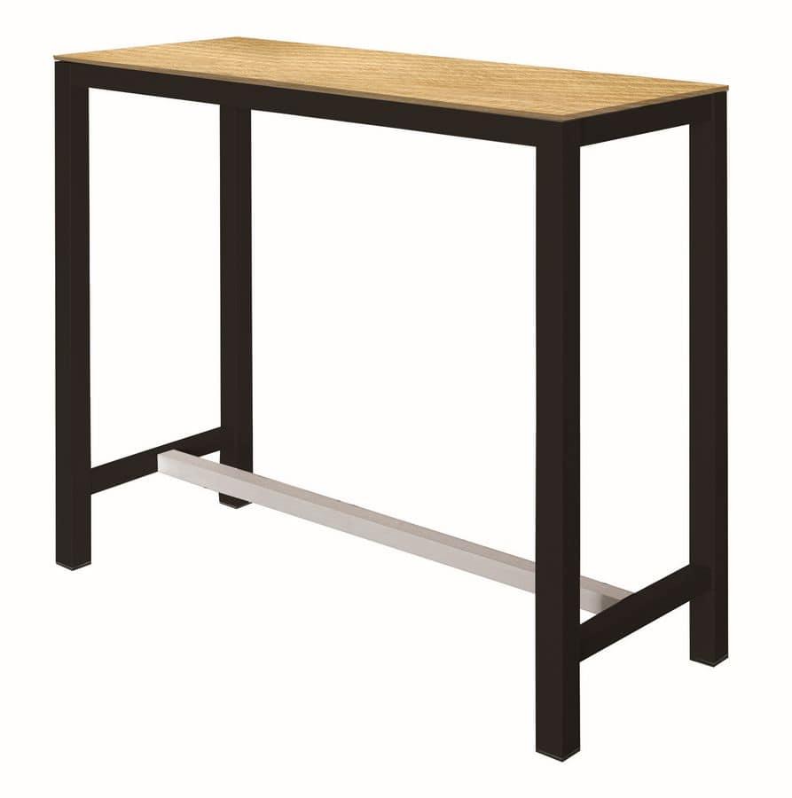 Tavolo alto con struttura in metallo piano in laminato for Tavolo alto