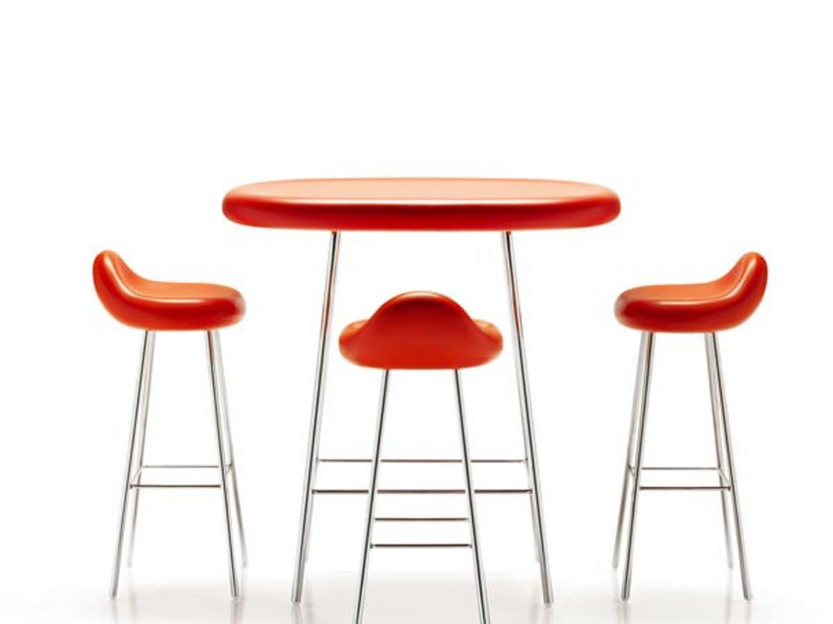 Tavolino con struttura in acciaio piano in poliuretano for Tavolo snack