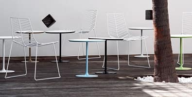 Dizzie 0681, Tavolino da bar in acciaio, piano in varie dimensioni