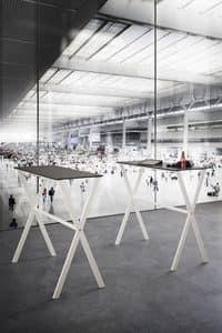 Ics, Tavolo alto con base in metallo, piedi regolabili, per bar