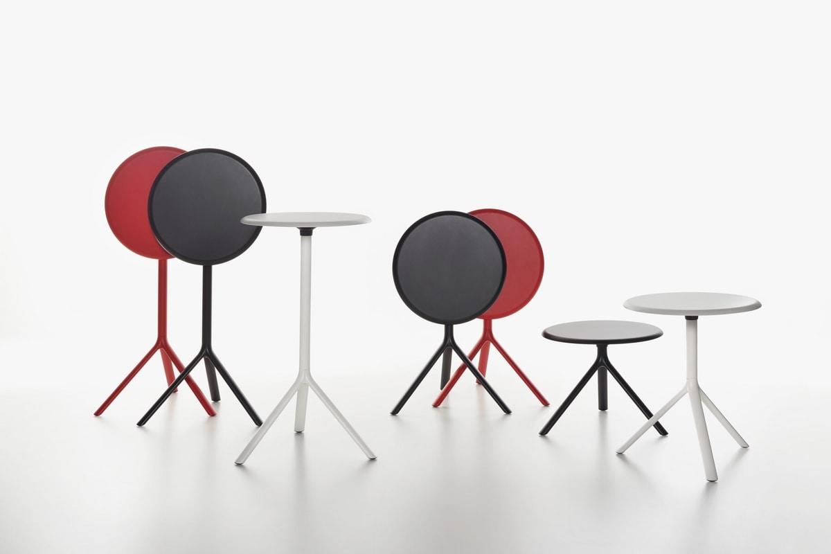 Miura   Tavolino alto, Tavolo sovrapponibile in acciaio, piano in laminato, per bar