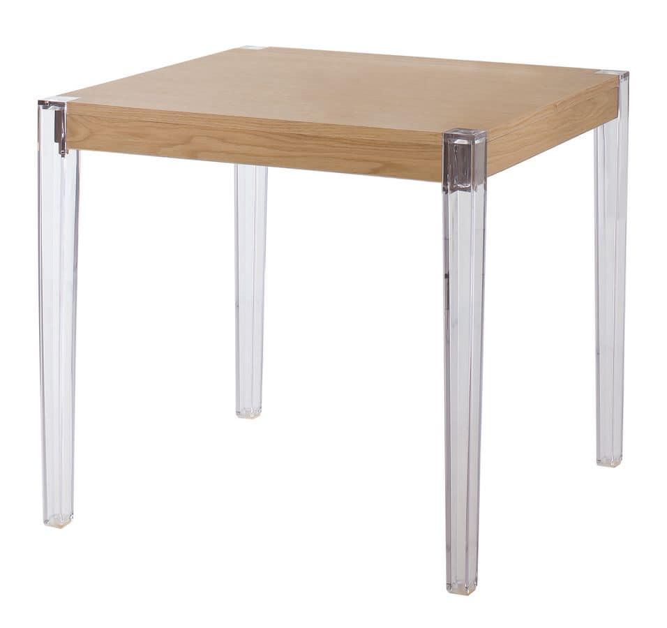 Tavolo con gambe in policarbonato piano in legno idfdesign - Tavolo policarbonato ...